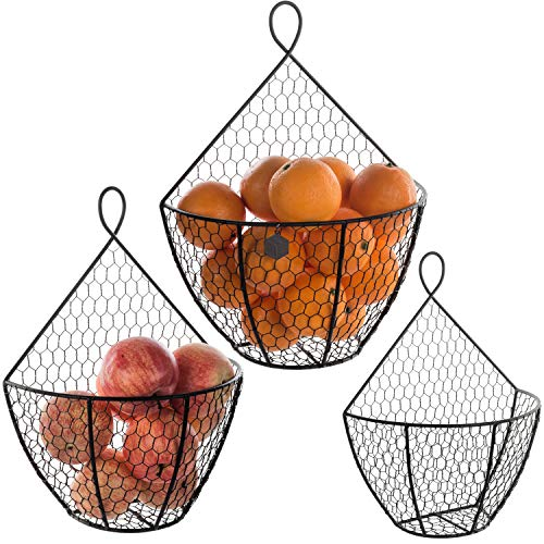 (Wall Mounted Brown Metal Fruit Vegetable Baskets, Chicken Wire Hanging Produce Bins, Set of 3)