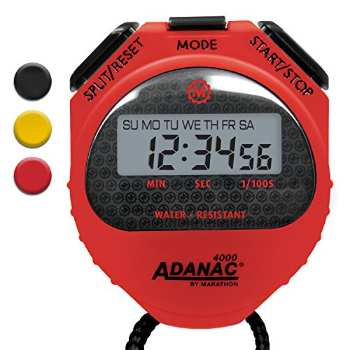 MARATHON Adanac 4000 Digital Stopwatch Timer with Extra Large Display and Buttons, Water Resistant, One Year Warranty (Red, (Extra Large Display)