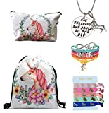 Unicorn Gifts for Girls 5 Pack - Unicorn Drawstring Backpack/Makeup Bag/Bracelet/Inspirational Necklace/Hair Ties (White)