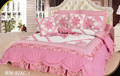 DaDa Bedding Pink Stars Patchwork Quilt - Geometric Rose Crepes Comforter Bedspread Set, Decorative Floral Pink, Cal King, 5-Pieces