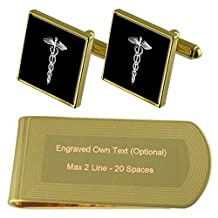 Medical Caduceus Gold-tone Cufflinks Money Clip Engraved Gift Set
