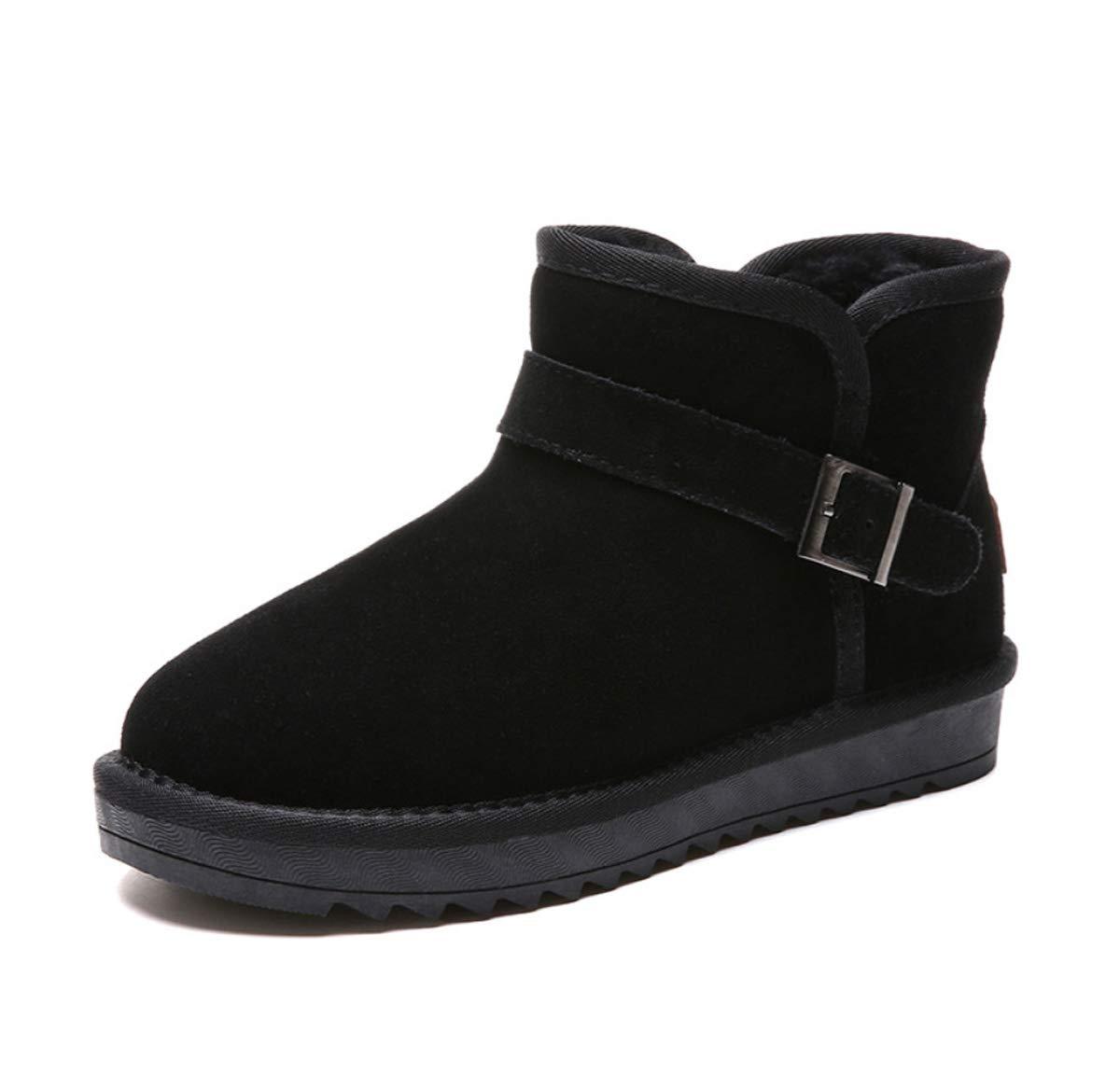 DANDANJIE DamenSnow Stiefel Schuhe Winter Warm Lining Stiefel Damen Flat Heel Buckle Rutschfeste Schuhe