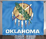 Ambesonne American Decor Collection, Flag of Oklahoma Ceremonial Pipe Native Americans Olive Branch Six Crosses Design Print, Living Room Bedroom Curtain 2 Panels Set, 108 X 84 Inches, Blue White