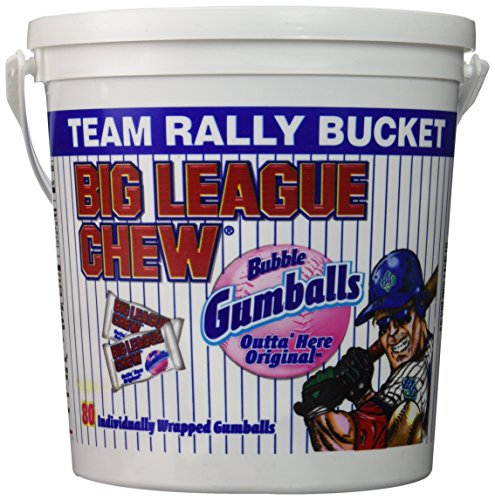 Big League Chew - Original Bubble Gum Flavor + 80pcs Individually Wrapped Gumballs + Baseball Dugout Team Rally Bucket + Perfect for Games, Concession Stands, Picnics and Parties -