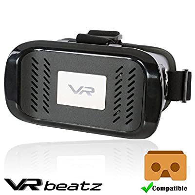 """VRbeatz Virtual Reality Headset - VR Goggle Gear Glasses, 3D Movies & Games, Light Weight & Comfortable, fits 4-6"""" iPhone Samsung Galaxy, Compatible with Google Cardboard"""