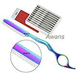 Hair Thinning Razor , Feather Styling, Hair Styling Razor, Multi Colour + 10 Spare Blades