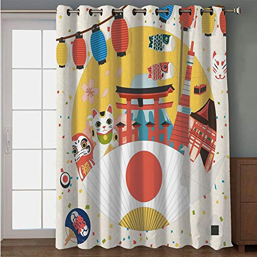 iPrint Blackout Patio Door Curtain,Lantern,Japanese Inspired Commercial Pattern Various Asian Culture Items Cool Cat Origami,Multicolor,for Sliding & Patio Doors, 102