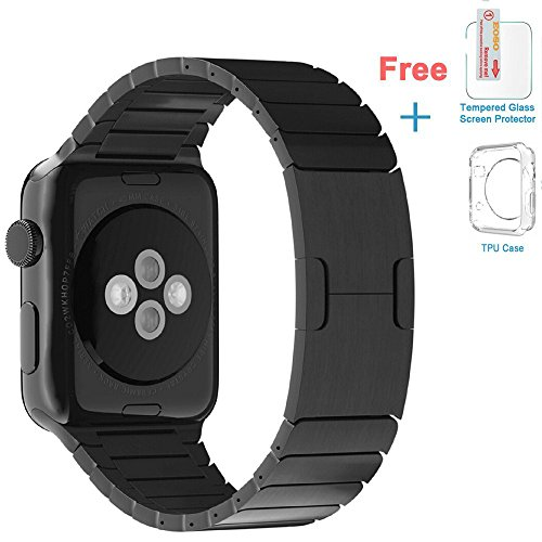 Eoso Stainless Steel Replacement Band Wrist Strap with Bracelet Clasp for Apple Watch Series 4/3/2/1 (Bracelet 2019 Black, 42 -