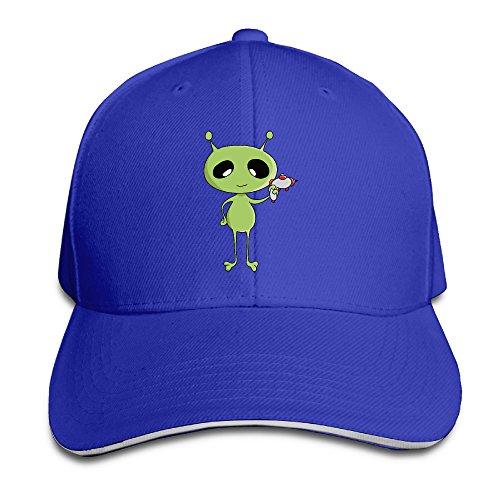 Unisex Hold Gun Cartoon Alien Hip Hop Adjustable Sandwich Hat RoyalBlue
