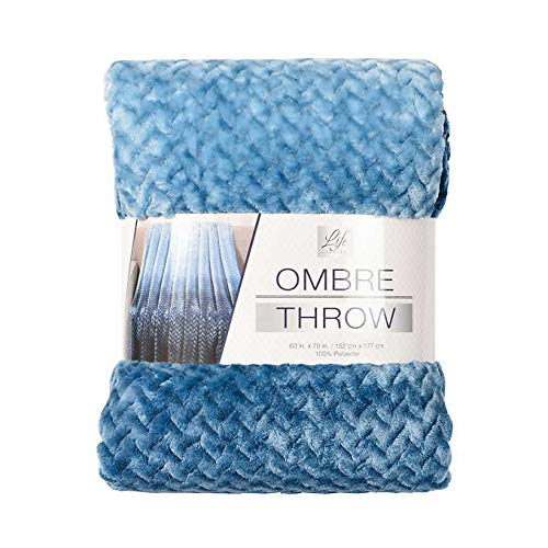 Life Comfort Ombre Blue/Green Throw 60 by 70 inches New in (Best Life Blankets)