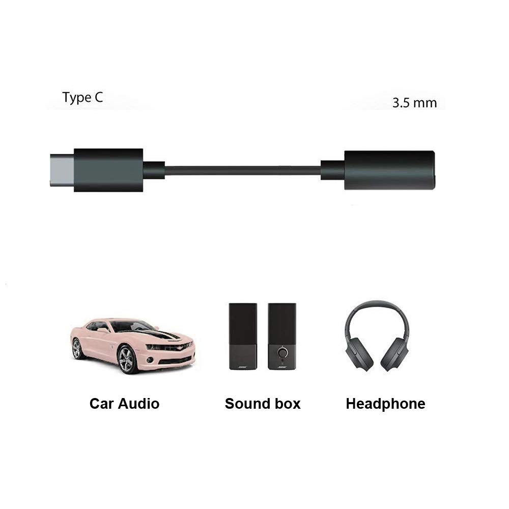 Updated Chip USB C to 3.5mm Adapter Aux Audio Headphone Jack Type C to 3.5mm Audio Adapter for 2019 Pad Pro//Google Pixel 2//3//4Essentia SamsungNote 10 10+//HTC U11//Moto Z