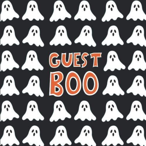 Theme Names For Halloween Party (Guest Boo: Halloween Ghost Guest Book - Funny Pun Orange Black & White Sign In Guestbook for Halloween Themed Wedding, Costume Party, Baby Shower or ... Name and Address -)