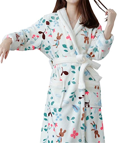 Robe White Flannel (Betusline Women's Cute Kimono Robe Plush Soft Warm Fleece Flannel Bathrobe)