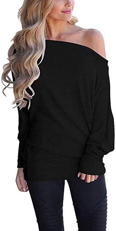 FAMILIZO Camisetas Mujer Invierno Mujer Hombro Suelto Suéter Jersey Manga Batwing Jersey Blusa Punto Superior Tops Mujer Fiesta Camisetas Mujer Originales Invierno: Amazon.es: Ropa y accesorios