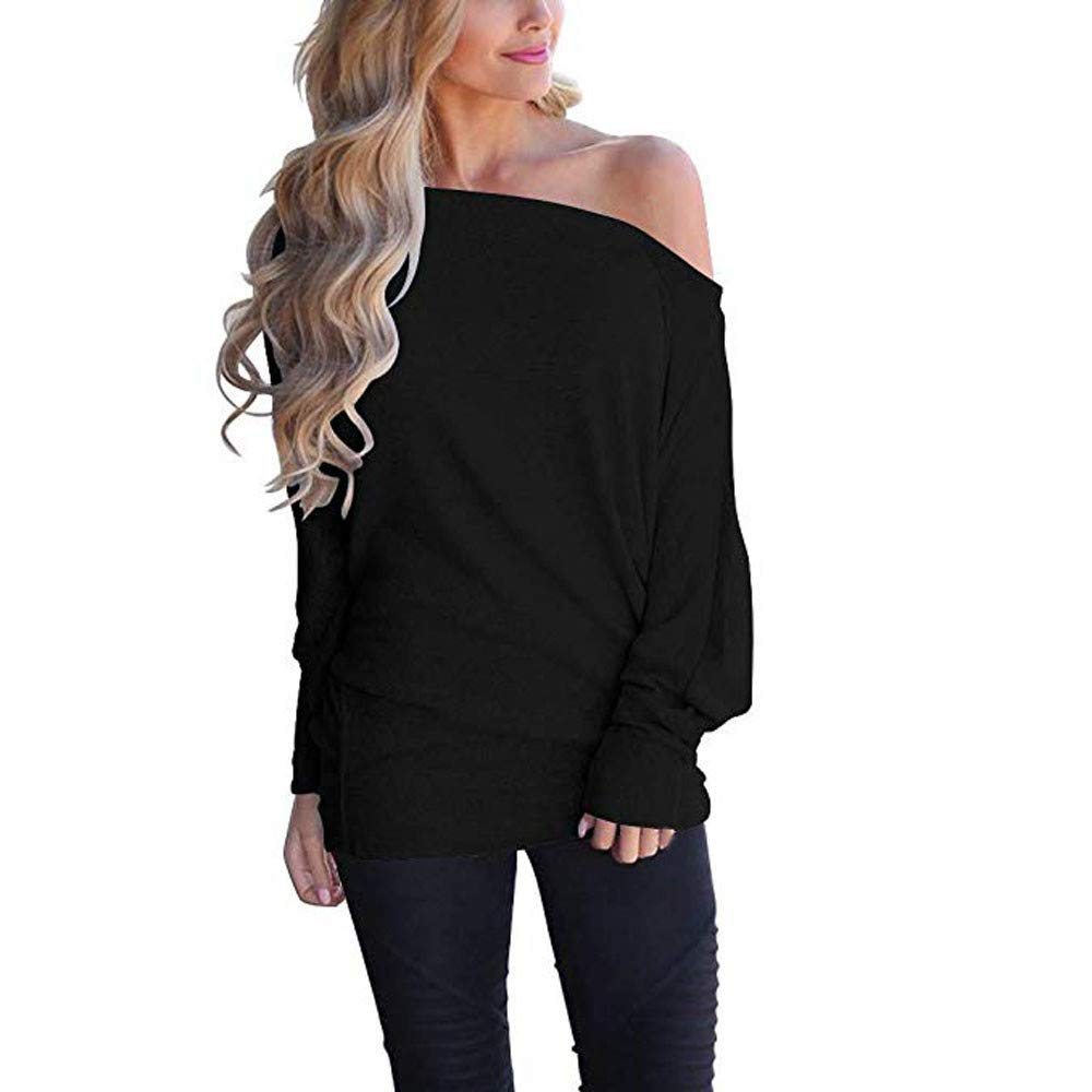 Nufelans Women's Sexy Off Shoulder Sweatshirt Loose Pullover Sweater Fashion Batwing Sleeve Knit Jumper Oversized Tunics Top