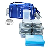 Image of Meal Prep Bag By TO GO Insulated Lunch Meals Bag W/6 Portion Control Containers,2 ICE PACKS, Shaker, Pill Box,With an Adjustable shoulder. bag for meals … (Blue)