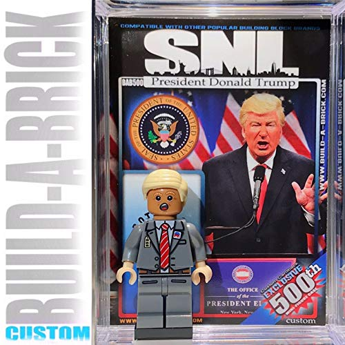 BuildABrick POTUS SNL Donald Trump Custom Mini Action Figure w/ Display Case & UV Collectible Movie Poster Trading Card Gift for Boys Girls & Adult Saturday Night Live Comedy Series Collection -  BUILD-A-BRICK Custom Entertainment Collectibles, BAR500A