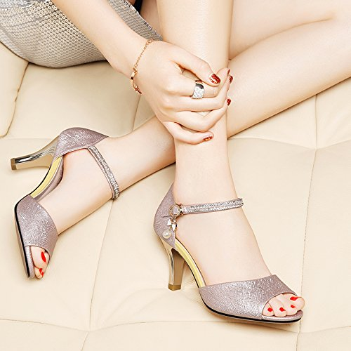 verano confortables Mujer tacones altos Moda 38 sandalias Pink negro gfxRnTwa