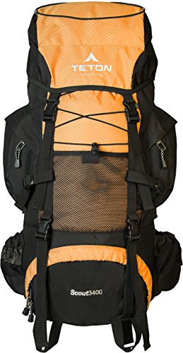 - TETON Sports Scout 3400 Internal Frame Backpack; High-Performance Backpack for Backpacking, Hiking, Camping; Mecca Orange