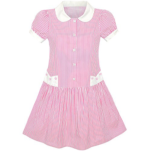 Sunny Fashion KW35 Girls Dress Pink White Stripe Collar School Short Sleeve Size 10 Pink School Stripe