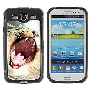 Paccase / Suave TPU GEL Caso Carcasa de Protección Funda para - Cat Roar Yawn Funny Cute Teeth Mouth Whiskers - Samsung Galaxy S3 I9300