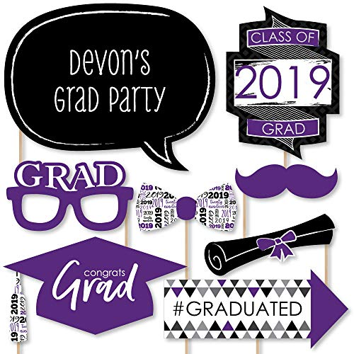 Custom Purple Grad - Best is Yet to Come - Photo Booth Props - Personalized Purple 2019 Graduation Party Supplies - 20 Selfie Props