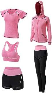 huateng Set Completo da Yoga, Tuta da Allenamento da 5 Pezzi da Allenamento da Palestra, Abbigliamento Sportivo da Allenamento, Set Allenamento Fitness