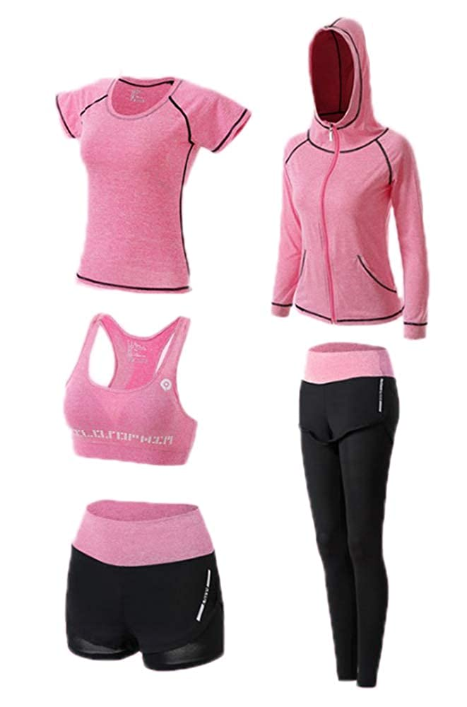 Running Gym Fitness Set,Women's Jogging Tracksuit Gym Outfit Workout Sweatsuit 5 Piece Set