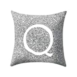 Letter Pillow Case Covers Metallic Throw Pillow Case 18x18'' A-Z Letter Alphabets Cushion Cover Polyester Pillowcase for Home Sofa Couch Decor (Q)