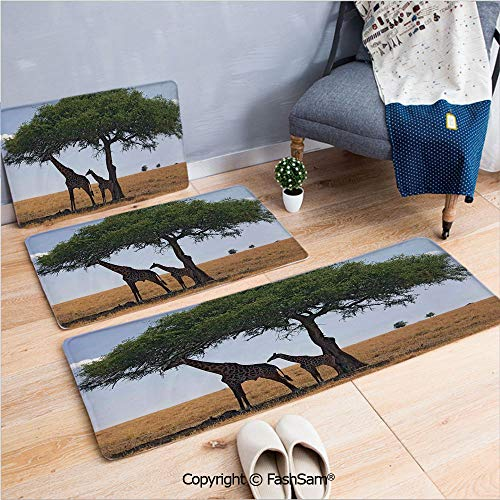 3 Piece Flannel Bath Carpet Non Slip Baby and Mom Giraffe under the Tree the Tallest Animal Mammal in Savannah Nature Art Front Door Mats Rugs for Home(W15.7xL23.6 by W19.6xL31.5 by W19.6xL59)