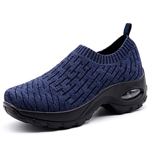 Women's Running Socks Shoes Fashion Mesh Sneakers Air Cushion Athletic Gym Casual Shoes Navy 9.5