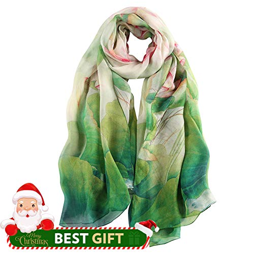 STORY OF SHANGHAI Womens 100% Mulberry Silk Head Scarf For Hair Ladies Floral And Butterfly Scarf,Green Lotus,One - Silk Green