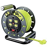 Masterplug Heavy Duty Extension Cord Open Reel with 4 120V / 10 amp Integrated Outlets, 60ft