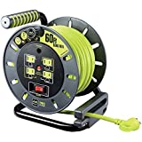 Masterplug 60ft Heavy Duty Extension Cord Open Reel with 4 120V/10 amp Integrated Outlets