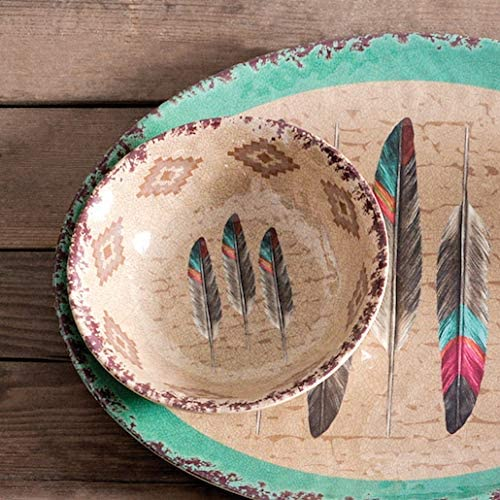 Hiend Accents Feather Southwestern 4 Pc Melamine Dinner Bowl Set 7 4 Diameter Beige Amazon Co Uk Kitchen Home