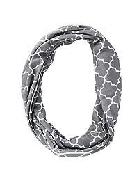 CTM® Women's Pattern Infinity Loop Scarf with Hidden Zipper Pocket, Grey