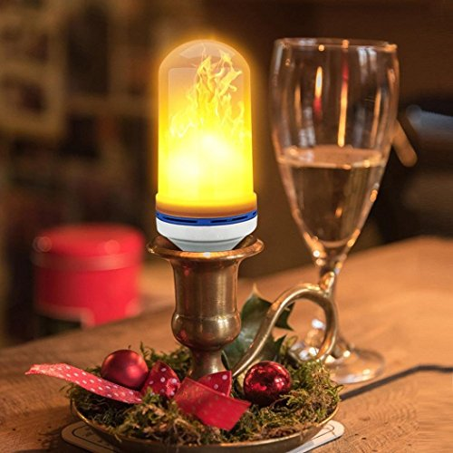 BUYBAY LED Flame Effect Fire Light Bulbs,Creative Lights with Flickering Emulation,Vintage Atmosphere Decorative Lamps, Simulated Nature Gas Fire in Antique Hurricane Lantern,Pack of 1
