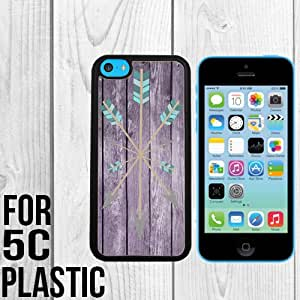 Arrows Geometric Pink Wood Custom made Case/Cover/skin FOR iPhone 5c -Black - Snap On Plastic Case (Ship From CA)
