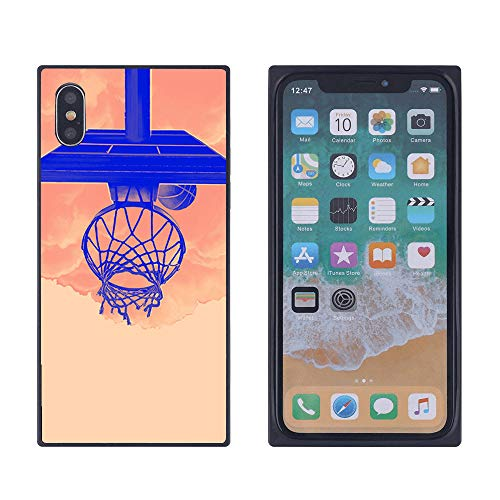 Square Case for iPhone Xs Max Basketball Hoop Cover for Slim Soft Flexible Shockproof Smooth Hard Case for iPhone Xs Max Holographic Glossy Full Protection Glitter TPU Back Cover