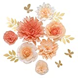 Ling's moment Paper Flower Decorations(14''-6'' Assorted), Handcrafted 3D Large Crepe Paper Dahlia Rose Peony Set of 7 for Wall Nursery Wedding Backrop Bridal Shower Centerpiece Monogram(Coral Ombre)