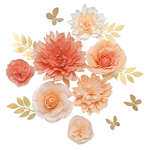Ling's moment Paper Flower Decorations, Handcrafted Large Crepe Paper Flowers Set of 7, Dahlia Rose Peony Assorted for Wall Nursery Wedding Backrop Bridal Shower Centerpiece Monogram(Sweet Peach hue)