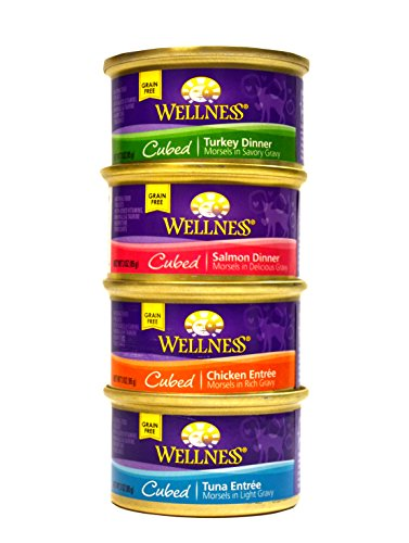Wellness Cubed Grain-Free Wet Cat Food Variety Pack - 4 Flavors (Salmon, Tuna, Turkey, and Chicken) - 12 (3 Ounce) Cans - 3 of Each Flavor