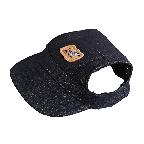 Easywin Pet Outdoor Accessories Elastic Chin Strap Doggy Puppy Dog Cat Visor Hat Sports Baseball Cap With Ear Holes Only for Small Dogs ( Black, Size M)