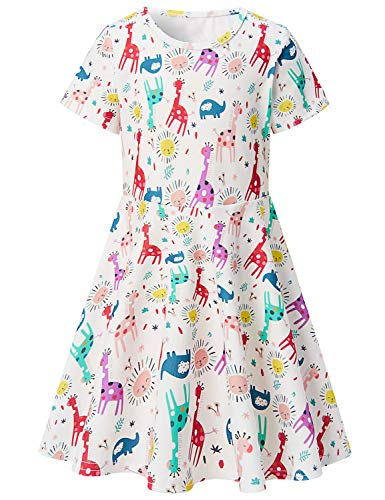 Girls Short Sleeve Dress 3D Print Cute Colorful Giraffe Elephant Sun Pattern White Summer Dress Casual Swing Theme Birthday Party Sundress Toddler Kids Twirly Skirt
