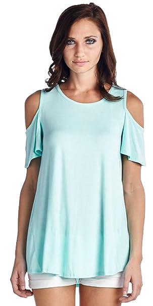 de34b1181259 Reborn J Women s Cold Shoulder Cut Out High Low Tunic Top at Amazon Women s  Clothing store
