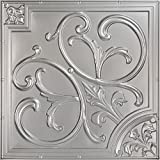Lillies and Swirls-Faux Tin Ceiling Tile - Antique Silver 25-Pack