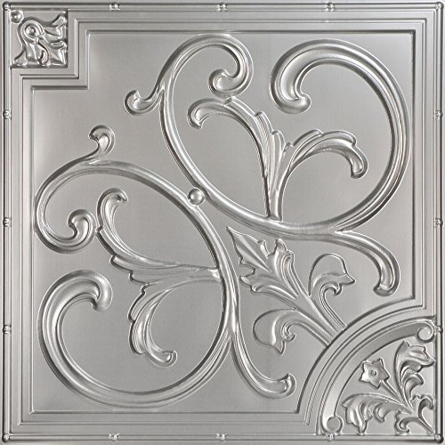 Lillies and Swirls-Faux Tin Ceiling Tile - Antique Silver 25-Pack by Decoraids