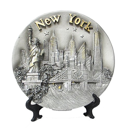 Liberty Tower - New York Souvenir 3D Plate with Statue of Liberty, Empire State Building, Chrysler Building, Freedom Tower, Brooklyn Bridge 6 Inches Diameter