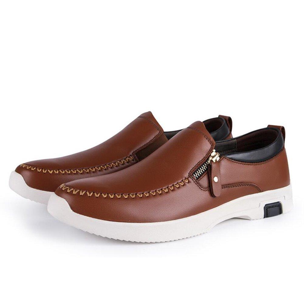 Herrenschuhe 2018 Frühjahr Herbst Herren Casual Casual Casual Side Zipper Faule Schuhe leichte Mode Lederschuhe (Farbe   Braun, Größe   43) ebbd96