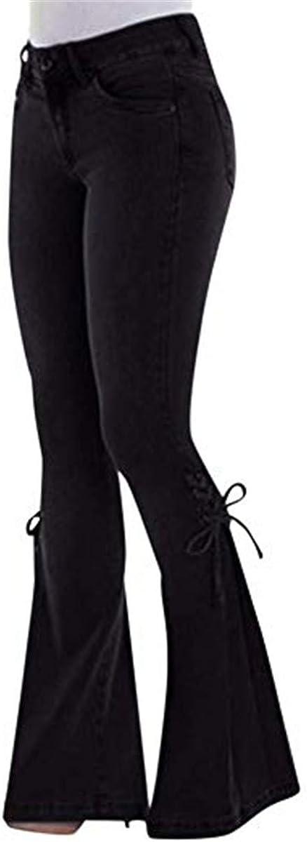 Donna Jeans a Vita Alta Bootcut Morbuy Denim Zampa Pantaloni Larghi Strappati Elasticizzati Sciolto Tempo Libero Taglie Forti Retro Skinny Eleganti Elastico Boyfriend